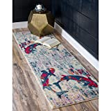 Ln 2'7 x 10' Blue Red Beach Theme Runner Rug Rectangle, Indoor Gray Beige Fish Pattern Hallway Carpet Animal Nautical Coastal Entryway Ocean Sea Tropical Themed Mat Entrance Way, Polypropylene
