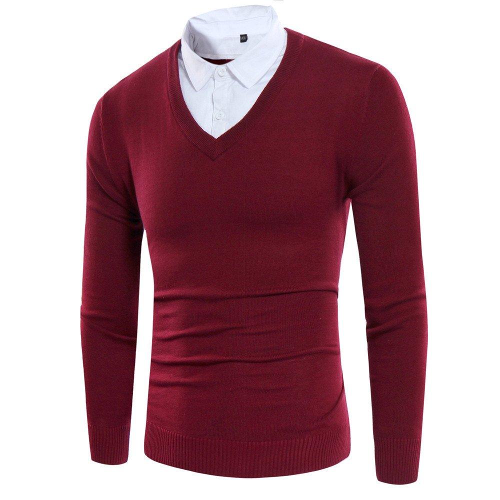 Aussagekräftige kopf männer pullover mit v - pullover, alle lose typ v,Rot - rot,XXL