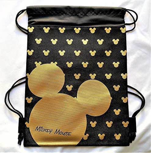 (Disney Mickey Mouse Drawstring Backpack Sling Tote School Sport Gym Bag (Gold))