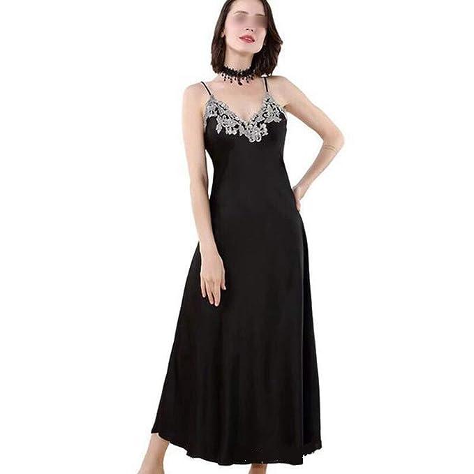 Amazon.com: Camisón largo de satén femenino de la casa traje ...