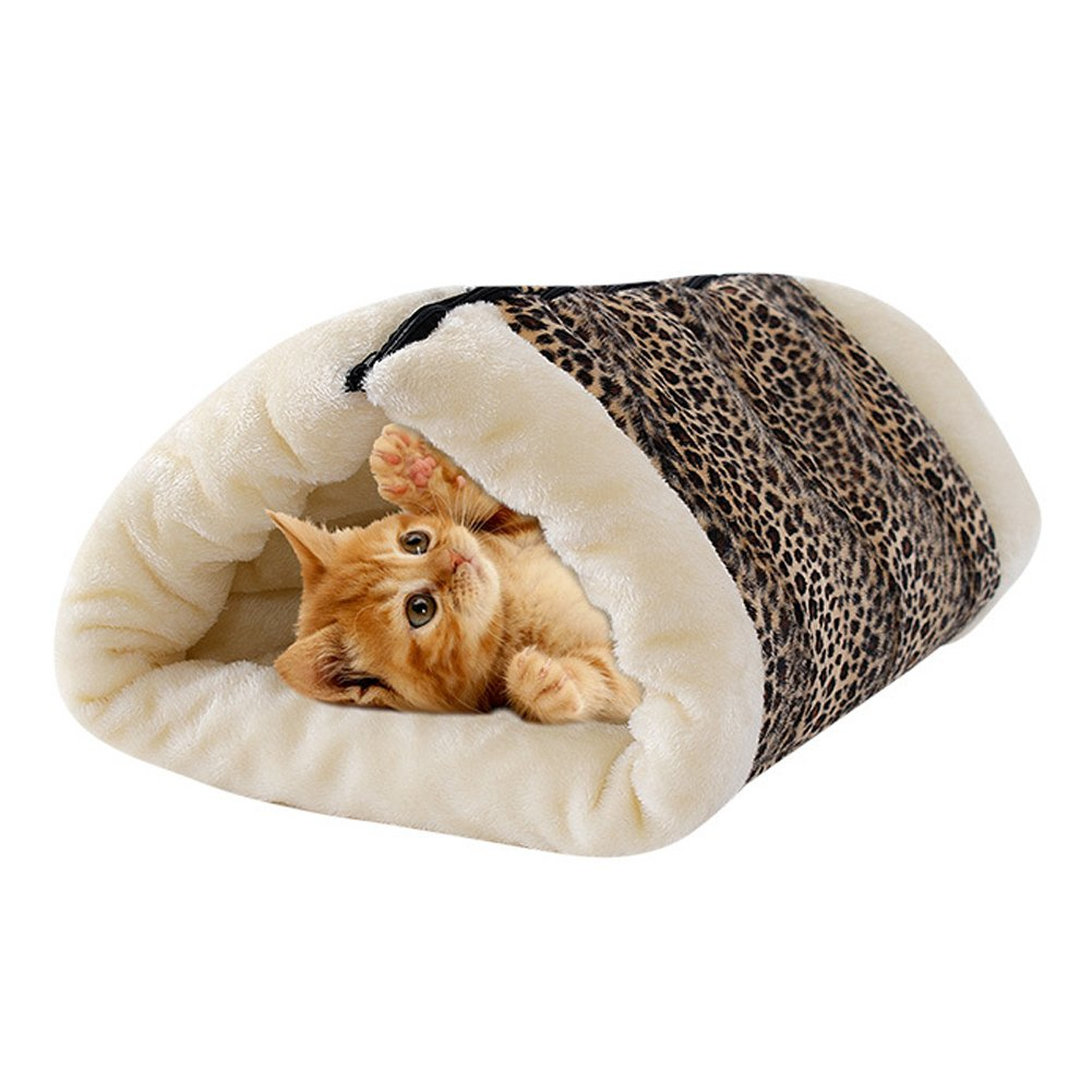 Saymequeen 2-in-1 Cat Pet Bed Snooze Tunnel Kitten Cave House Warm Sleeping Mat Cushion (leopard)