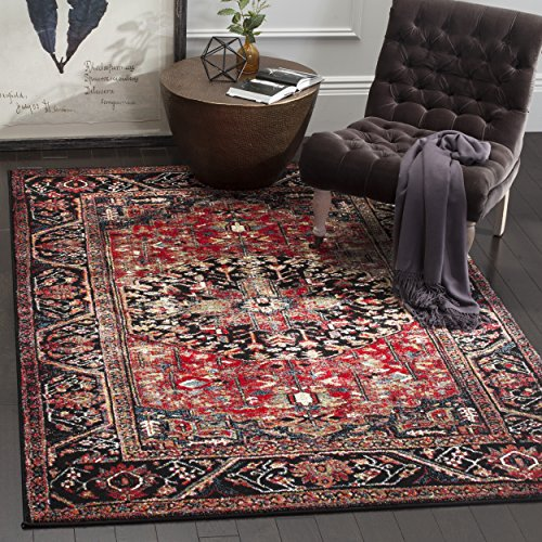 Safavieh Vintage Hamadan Collection VTH215A Oriental Antiqued Red and Multi Area Rug (6'7″ x 9′) For Sale