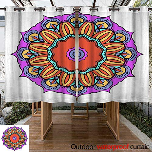 Outdoor Balcony Privacy Curtain Flower Mandala Printable Package Decorative Elements Coloring Page Template It is Vector Illustrations W84 x L72 ()