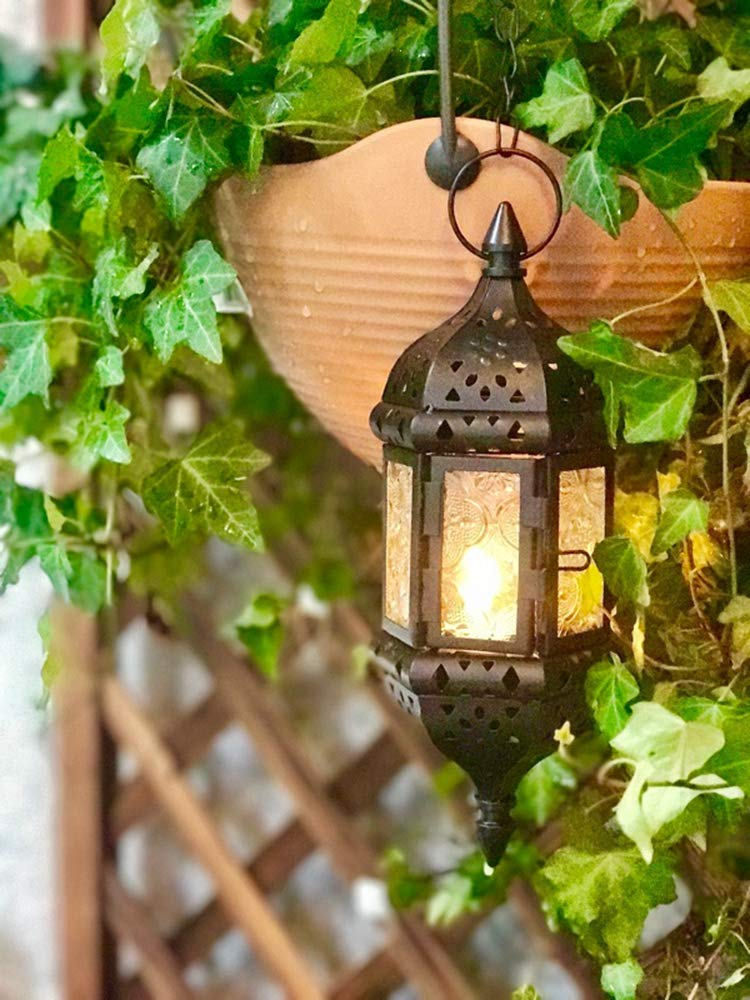 HUAHOO 5 pc Moroccan Style Candle Lanterns Hanging Candle Lantern Mystical Decorative Metal Glass Candle Lantern Light Contain 40cm Chain(Black