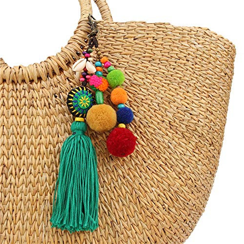 QTMY Pom Pom Shell Beads Tassel Bag Charm Pendant Boho Keyring Keychain for Women Purse Handbag Decor (6)