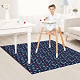 Zicac 47'' Waterproof Reusable Splat Mat Splash Mat High Chair Floor Table Protector Cover (Dinosaur)