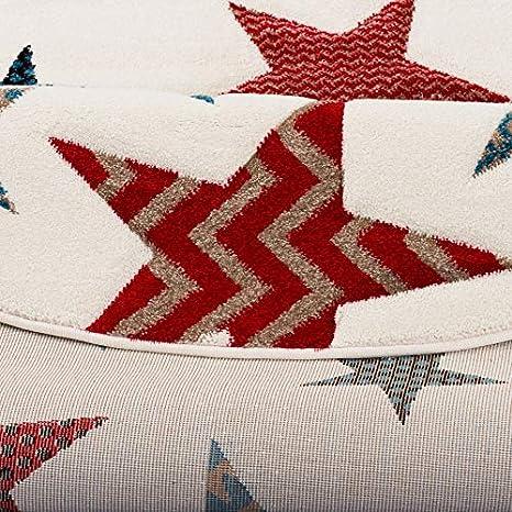 Maui Kinder und Jugend Teppich Creme Sterne Bunt Rund in 3 Gr/ö/ßen