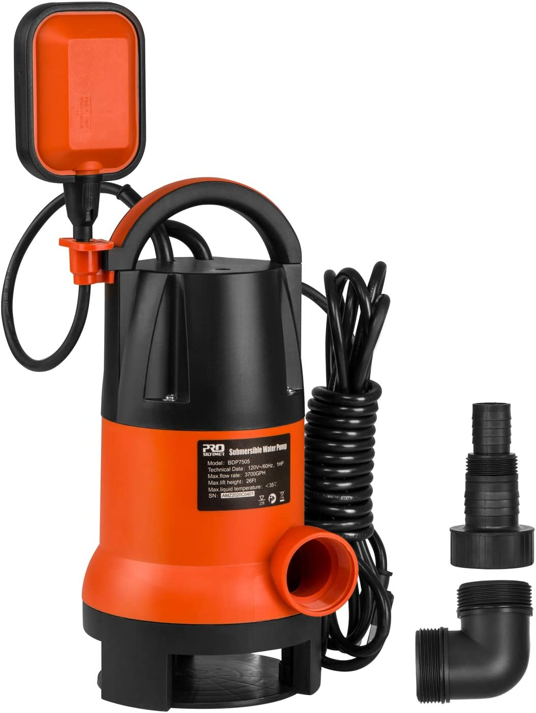 Sump Pump, PROSTORMER 1HP 3700GPH Submersible Clean/Dirty Water Pump with Automatic Float Switch for Pool, Pond,Garden, Flooded Cellar, Aquarium and Irrigation (Orange)