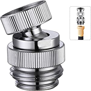 Faucet Adapter Swivel Aerator, Multi-Thread Garden Hose Adapter, Kitchen Sink Faucet Adapter to Connect Garden Hose, Female to Male, Polished Chrome