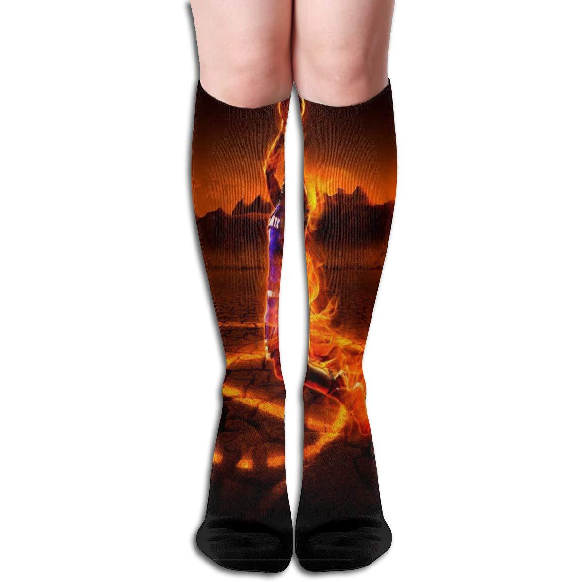 Girls Socks Mid-Calf Fire Basketball Winter Special For Halloween