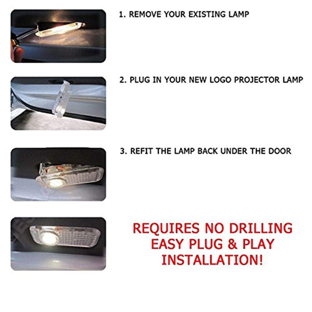 XIUJINGHONG 2 PCS Car Shadow Light,Car Ghost Shadow Light,Welcome Projector Lamp,3D Logo Light