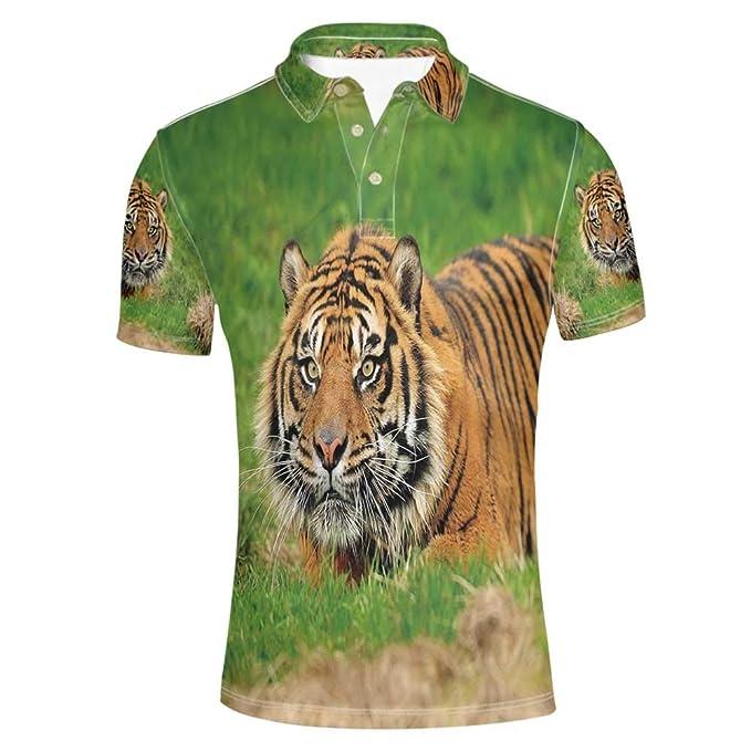 Amazon.com: Tiger Elegante Polo Camisa, Sumatran Feline ...