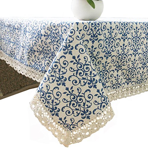 Bohemian Pattern - Bongha Bohemian Tablecloth, Ethnic Patterns Cotton Linen Macrame Lace Table Cloth Vintage Table Top Cover for Dinning Picnic Parties (140x140cm/55x55inch, Blue and White Porcelain)