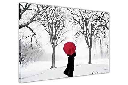Mujer con paraguas rojo en la nieve y árboles lienzo paisaje fotos decoración del hogar,