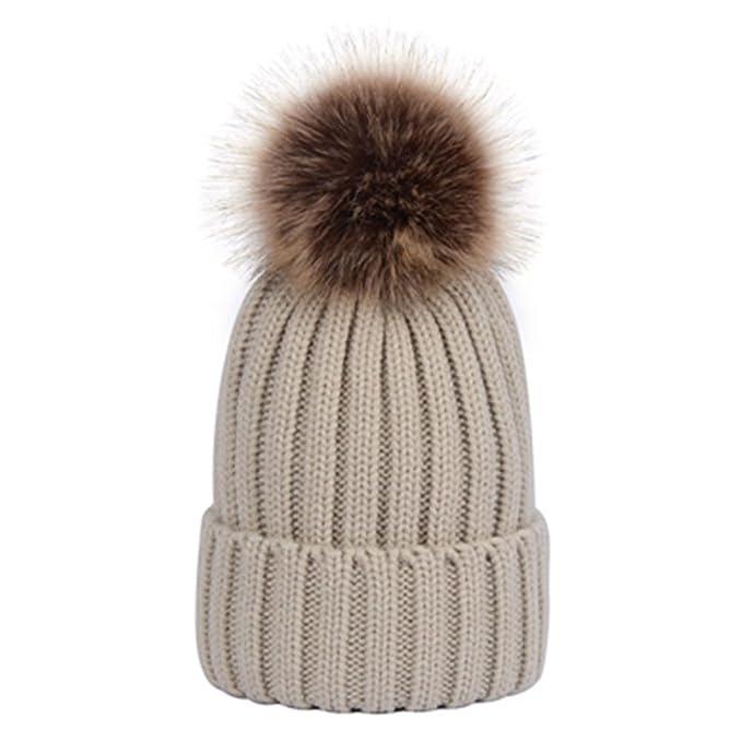 7d10119c791 Vic Gray Men Women s Winter Hand Knit Faux Fur Pompoms Beanie Hat (Beige)