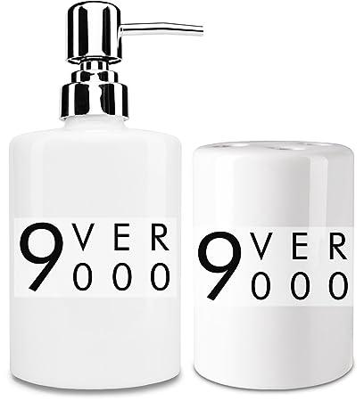 Ovel 9000 dispensador de jabón líquido y vaso para cepillo de dientes set| añadir un