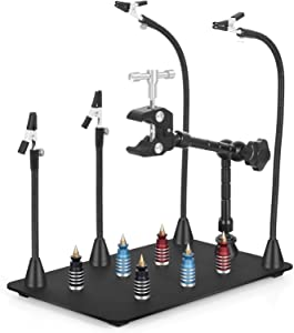 Magnetic Helping Hands Third Hand Soldering Work Station | EXtra Large & Heavy Duty Base Plate | Flexible Arms | 360 Hot Air Gun Holder (Helping Hands with Magic Hand)