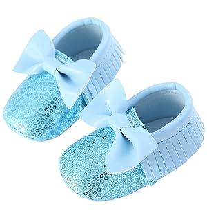 Sagton Baby Girl Prewalke Soft Sole Crib Bowknot Tassel Flats Boot Toddler Shoes (US:4, Blue)