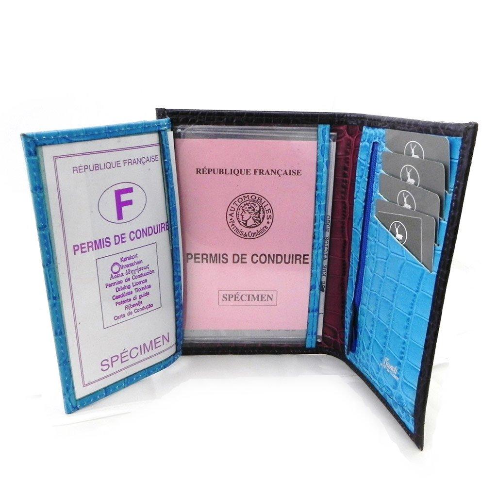 crocodile . Leather wallet Frandi monochrome purple