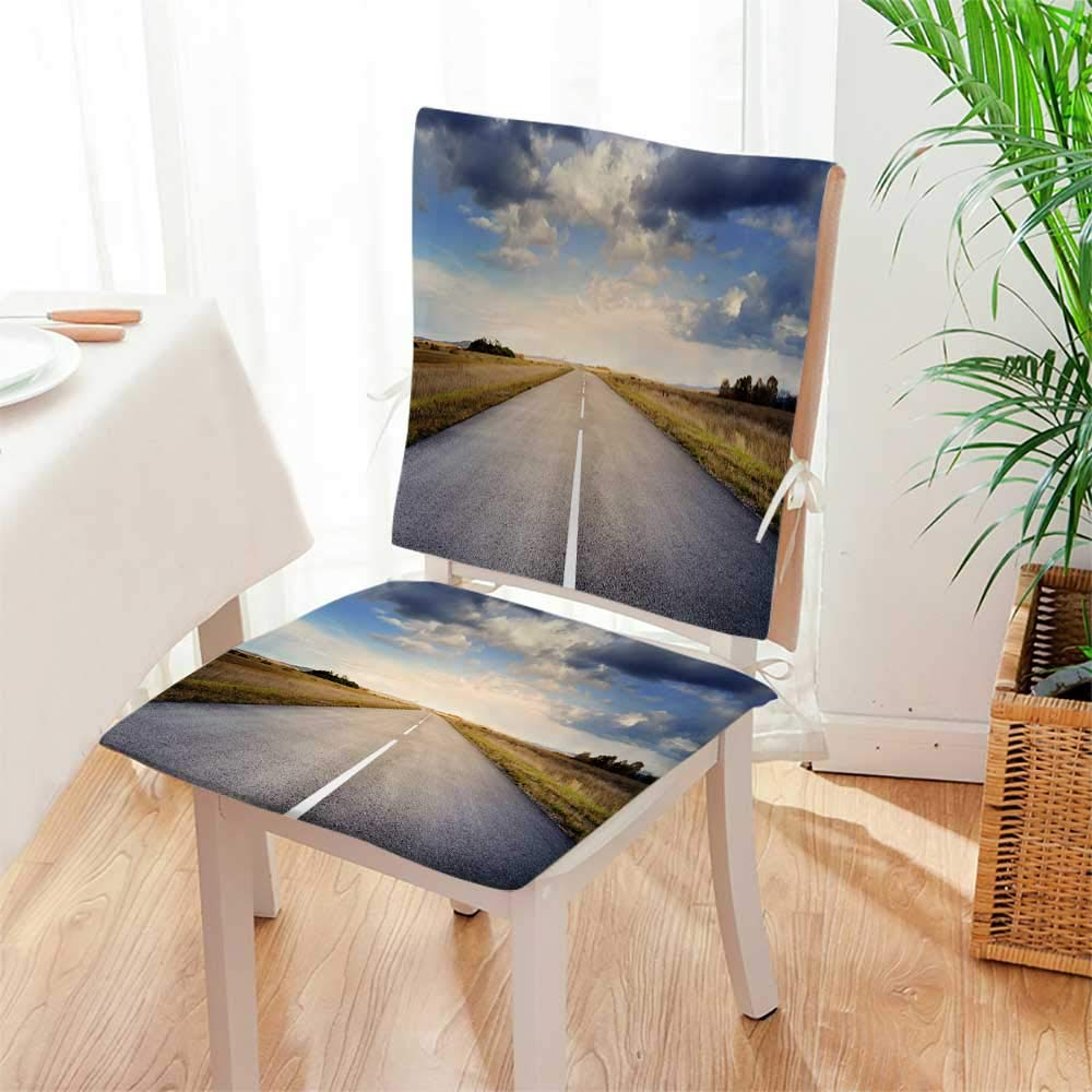 Mikihome Beautiful Chair Cushion Straight Asphalt Highway Indoor and Outdoor Cushion Mat:W17 x H17/Backrest:W17 x H36