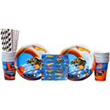 Hot Wheels Wild Racer Party Supplies Pack for 16 Guests - Straws, Dessert Plates, Beverage Napkins, and Cups