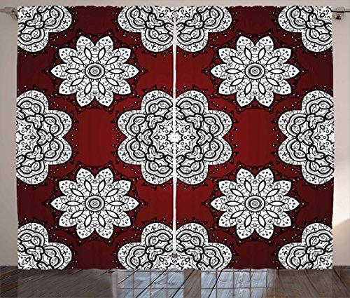Ambesonne Maroon Curtains, White Doodle Style Round Mandala