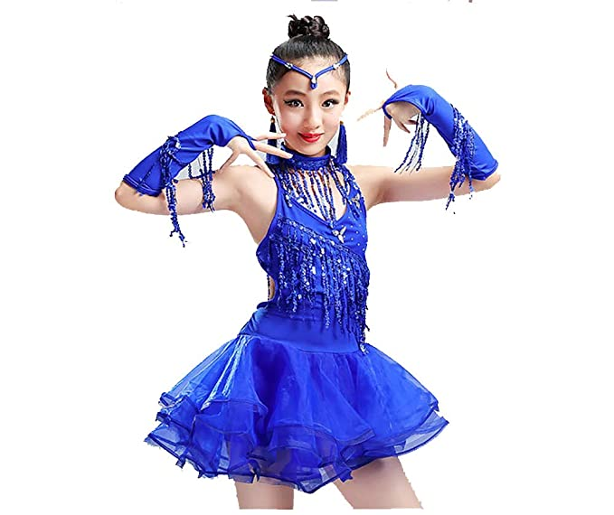 XGWD Niñas Latina Tango Salón De Baile Salsa Borla Falda Traje De ...