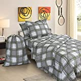 Clara Clark College Dorm Room Bed in a Bag Set, Twin X-Large, Green/Grey Plaid, 6 Piece