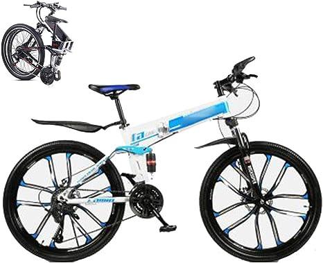KuaiKeSport Bicicleta Montaña Plegable para Hombre Mujer,26 Pulgadas MTB Bikes Bici Plegable 27 Velocidades Bicicleta De Todoterreno para Estudiantes Adultos Mountain Bike Frenos de Doble Disco,Azul: Amazon.es: Deportes y aire libre
