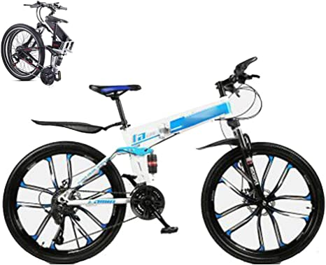 Bicicleta Montaña Plegable Hombre Mujer,Todoterreno Fat Bike Bici Ruedas de 26 pulgadas,Frenos de Doble Disco 30 Velocidades MTB Mountain Bike con Asiento Ajustable para Adultos Estudiantes,Azul: Amazon.es: Deportes y aire libre