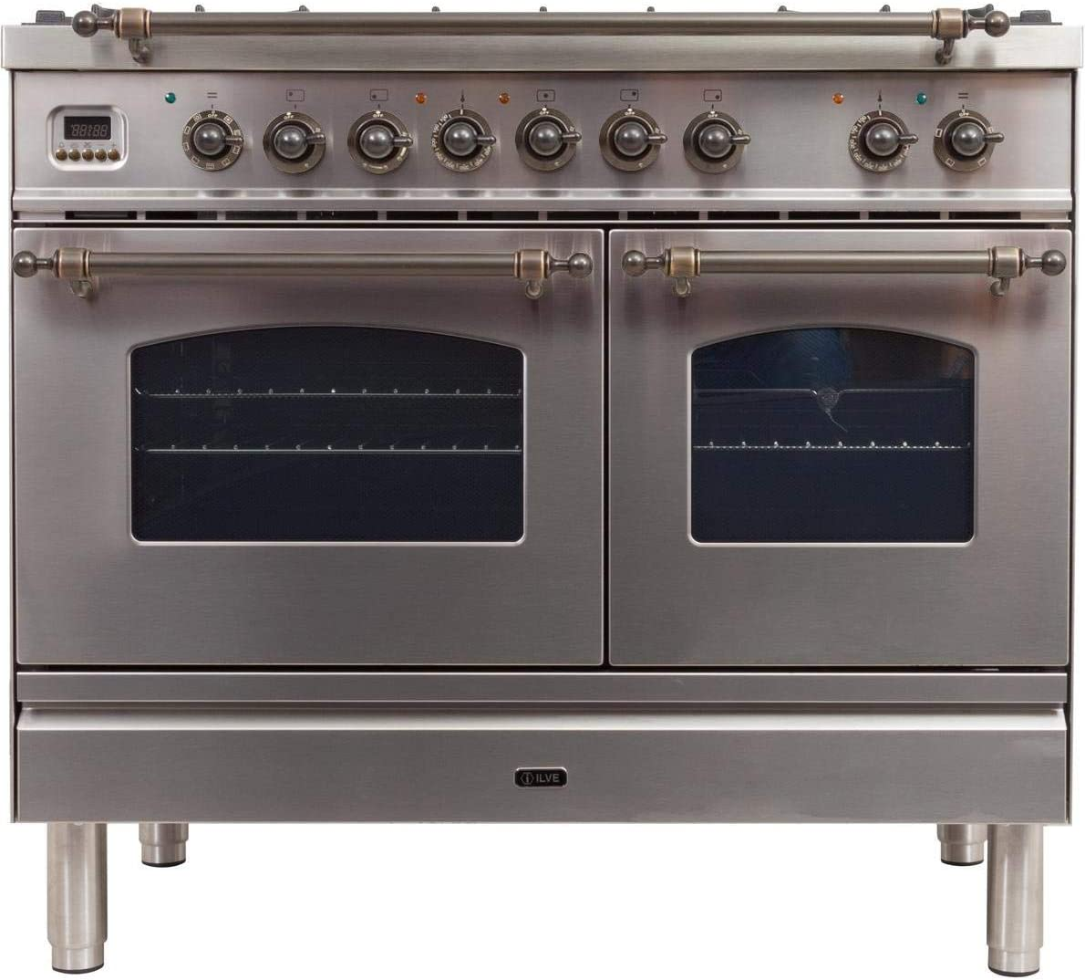 Ilve UPDN100FDMPIYLP Nostalgie Series 40 Inch Dual Fuel Convection Freestanding Range, 5 Sealed Brass Burners, 4 cu.ft. Total Oven Capacity in Stainless Steel, Bronze Trim (Liquid Propane)