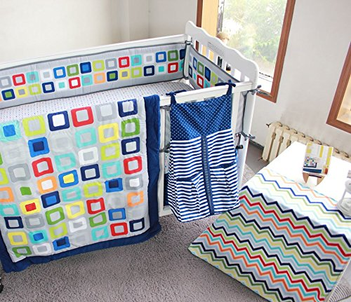 NAUGHTYBOSS Baby Bedding Set Cotton 3D Embroidery Colorful Tetris Quilt Bumper Mattress Cover Urine Bag Blankets 9 Pieces Multicolor by NAUGHTYBOSS (Image #1)