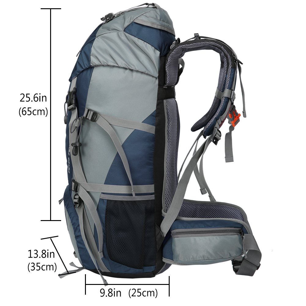 Loowoko Hiking Backpack 50L Travel Camping Backpack with Rain Cover for Outdoor Traveling (Dark Blue) by Loowoko (Image #5)