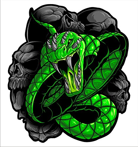 2 sticker set Green Snake 5 inch x 5 inch Motorcycle sportbike cruiser Sticker Decal Set
