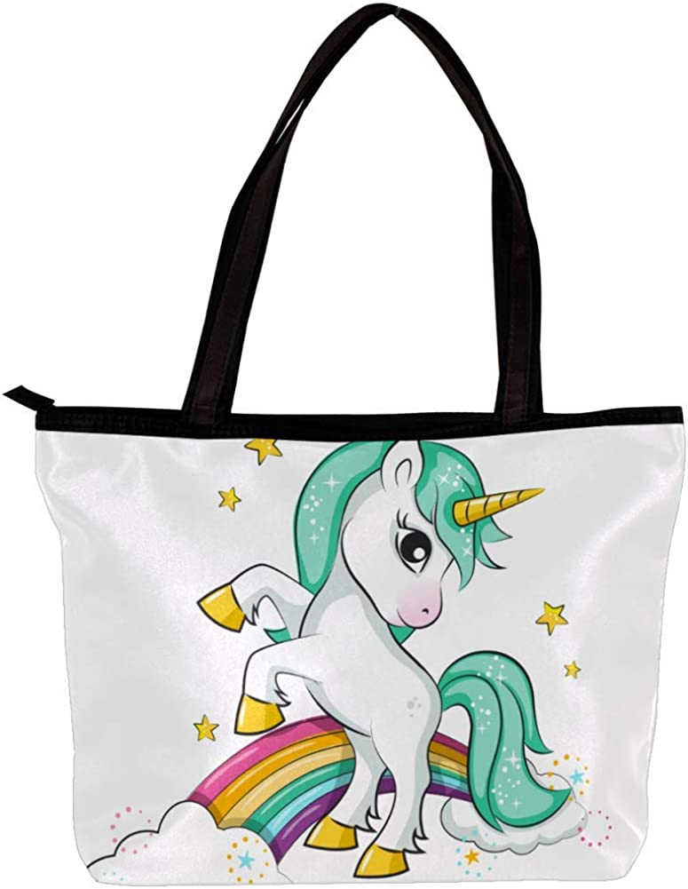 Handbag for Girls Rainbow Blue Unicorn Women Shoulder Bag