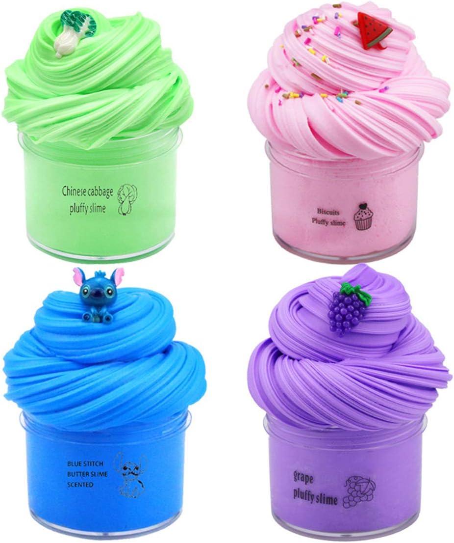 4pcs Butter Slime-Donut Candy Slime-Cotton Mud Fluffy Slime,Super Soft Slime Clay Fun Stress Relief Toy pour Enfants Enfants,Gar/çons Filles Cadeau danniversaire