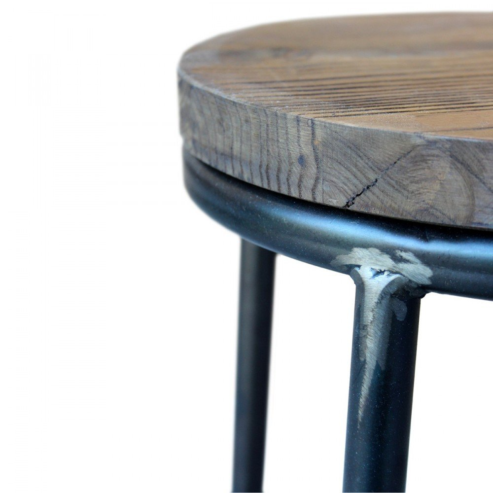 76d157395c3fd9 Tabouret de bar indus bois métal Fredo - Couleur - Metal  Amazon.fr   Cuisine   Maison