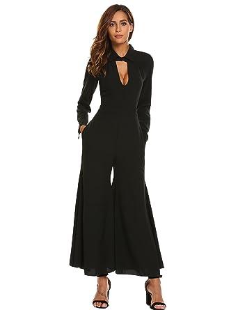 95d5b4a71c33 Zeagoo Women s Long Sleeve Keyhole Flared Hem Wide Leg Solid Casual  Jumpsuits with Belt