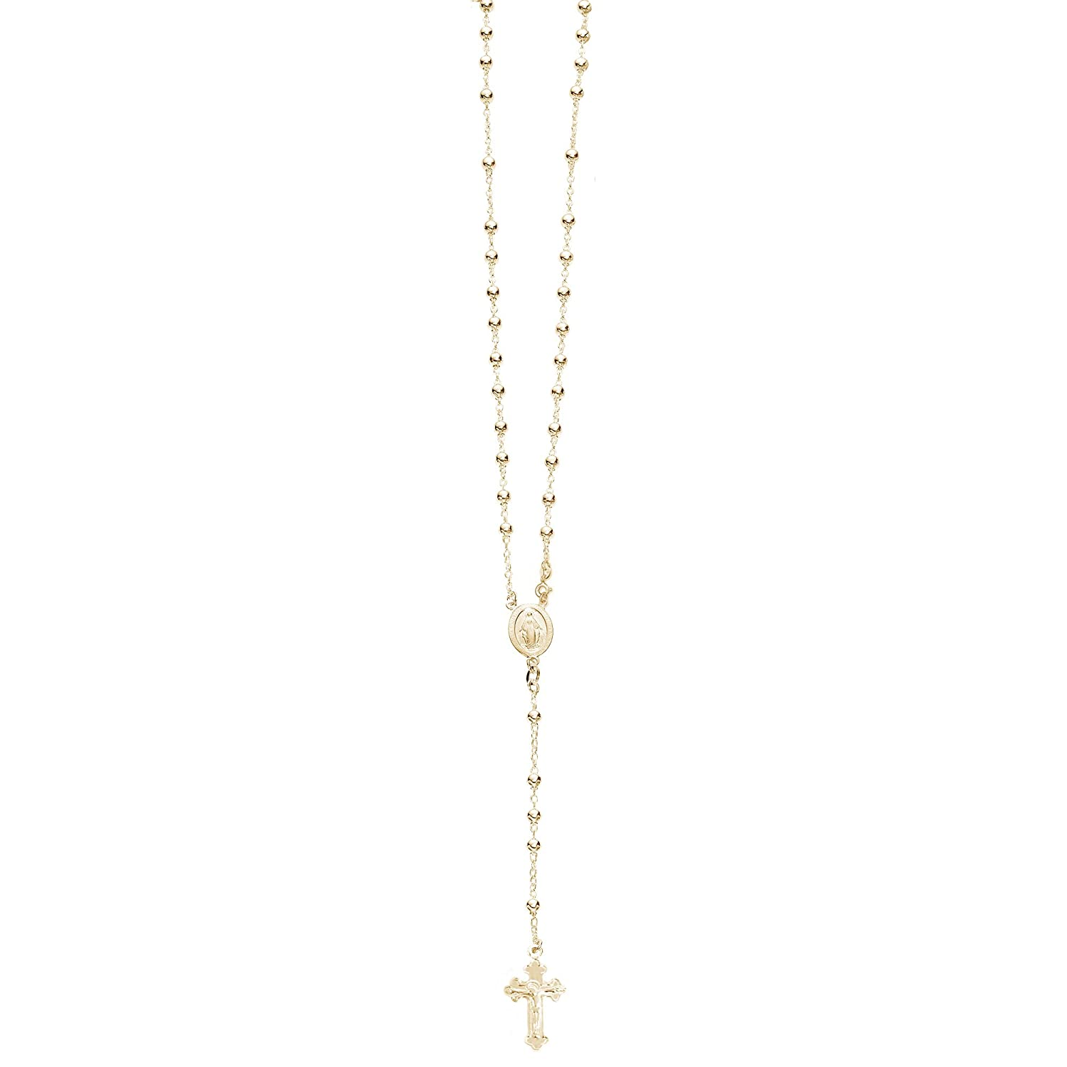 35d647d652bc1 Ritastephens Sterling Silver or Gold-tone 3mm Rosary Bead Necklace Virgin  Mary Cross Made in Italy