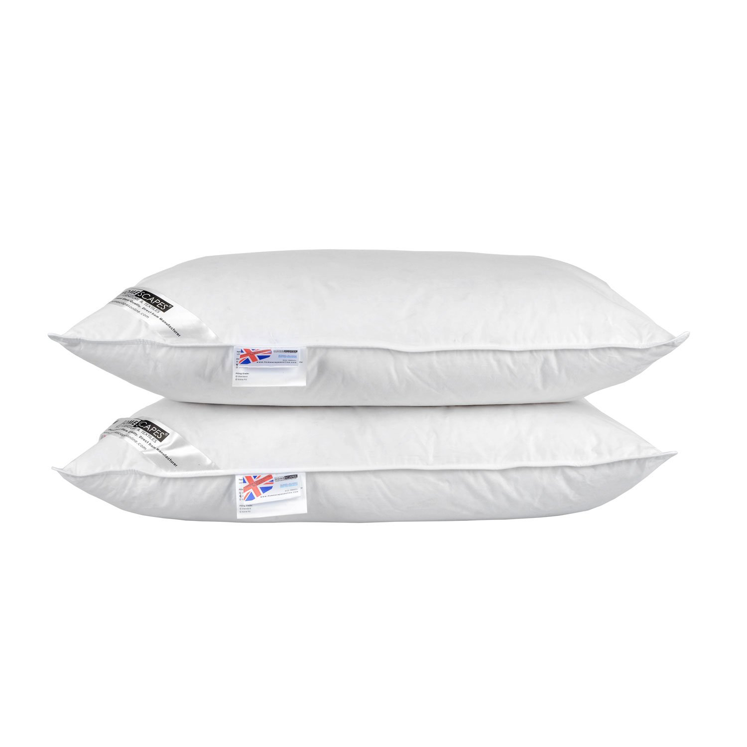 Homescapes - White Duck FEATHER AND DOWN Pillow PAIR - Department Store Quality - Anti Dust Mite - Machine Washable - Soft firmness Others
