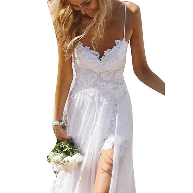 Cordón Vestidos Mujer Elegante Dama De Honor Vestir Largo Correa Vestido Boda Cóctel Vestir Fiesta Vestido De Tirantes Playa Vestidos Kootk: Amazon.es: Ropa ...