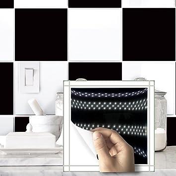 CXQWAN Schwarz Weiß Kariert Fliesen Bad Küche Wasserdichte Wandaufkleber  Selbstklebend Abnehmbar Waschbar PVC