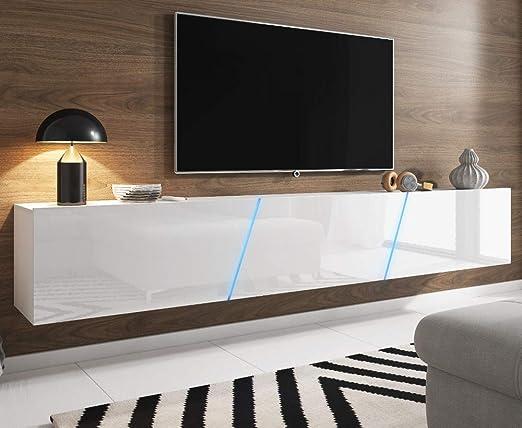 Space Tv Lowboard Weiß Hochglanz Lack Hängendstehend Xxl