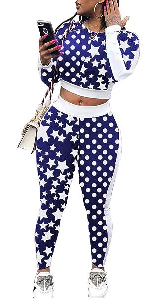 01e7e47c7c8ac Shinfy Womens 2 Piece Outfits Floral Print Crewneck Jacket Suit Bodycon  Pants Sweatsuits