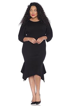 fe02fd98f2e Amazon.com  SLINK Jeans Women s Plus Size Sweater Dress With Ruffle Hem   Clothing