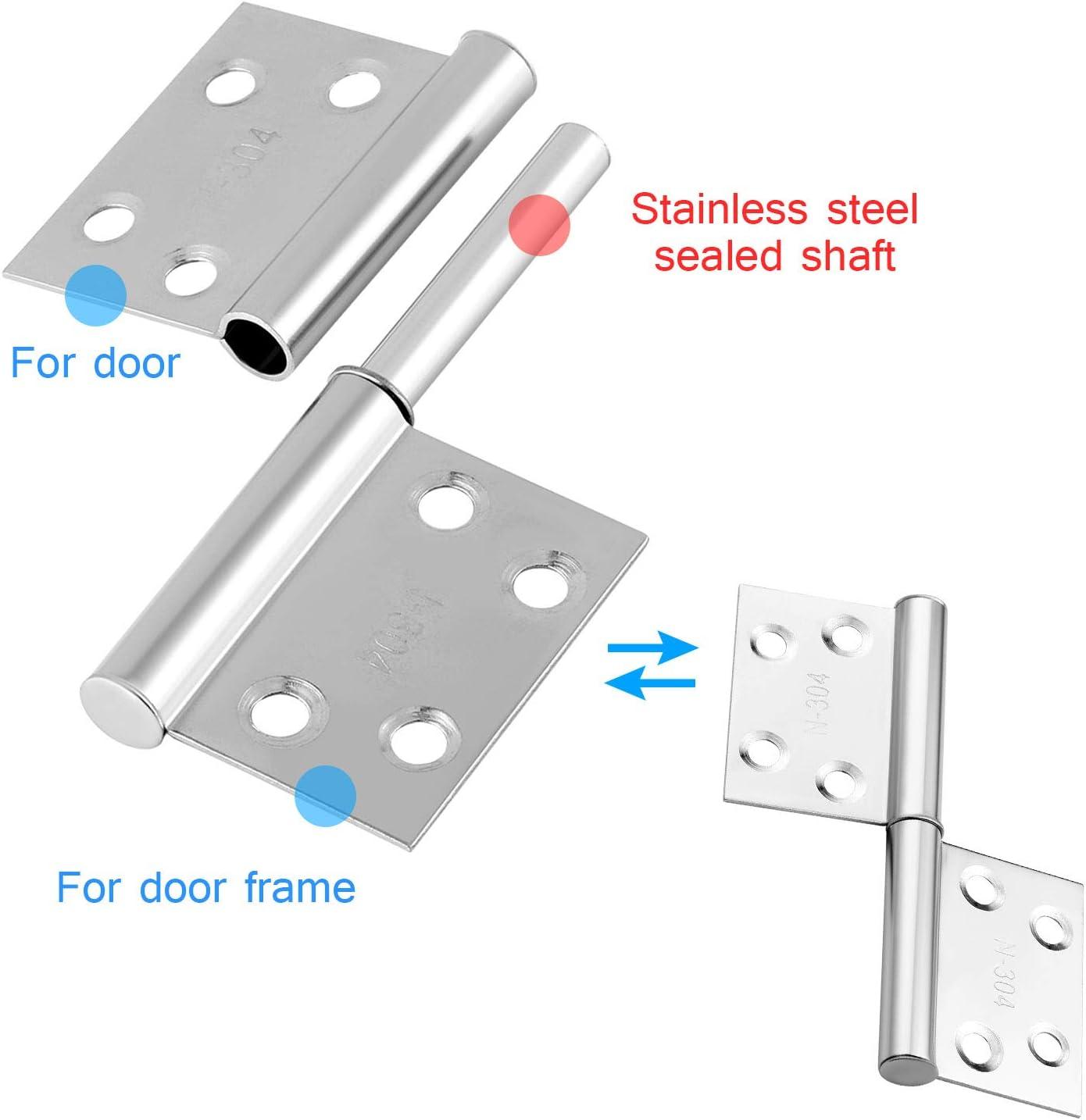 HSEAMALL 10 bisagras peque/ñas de 4 pulgadas bisagras de puerta desmontables bisagras de acero inoxidable para zurdos