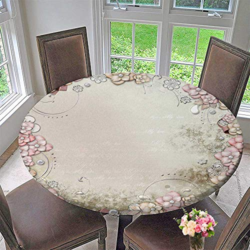 PINAFORE HOME Modern Table Cloth Decorative Background with Flowers and Pearls Indoor or Outdoor Parties 43.5