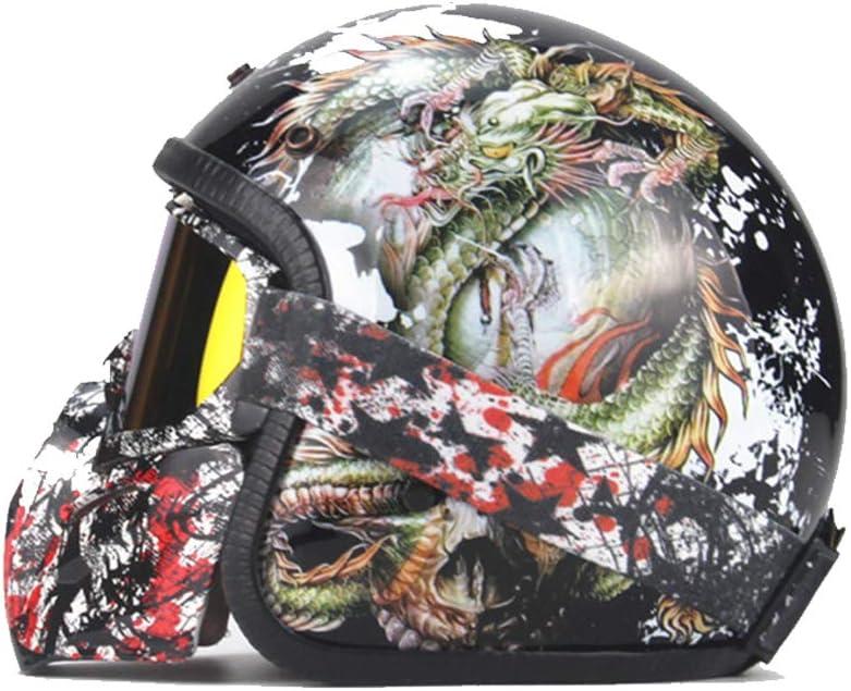 KuaiKeSport Motocross Helm Adult,ECE-gepr/üft Off Road Helm Halbhelme mit Brille,Retro Motorradhelm Herren Cross Helme Schutzhelm ATV Scooter Helm f/ür M/änner Damen Sicherheit Schutz,Drachenk/önig Stil