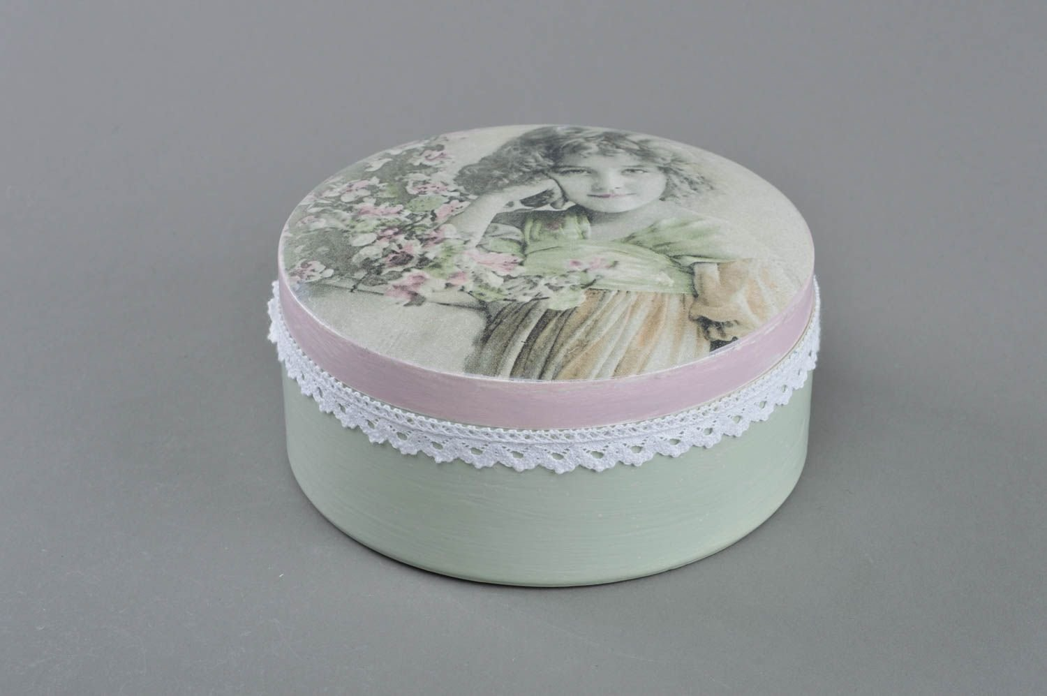 Handmade Designer decoupage Wooden Box of Round Shape Youth by MadeHeart | Buy handmade goods (Image #1)