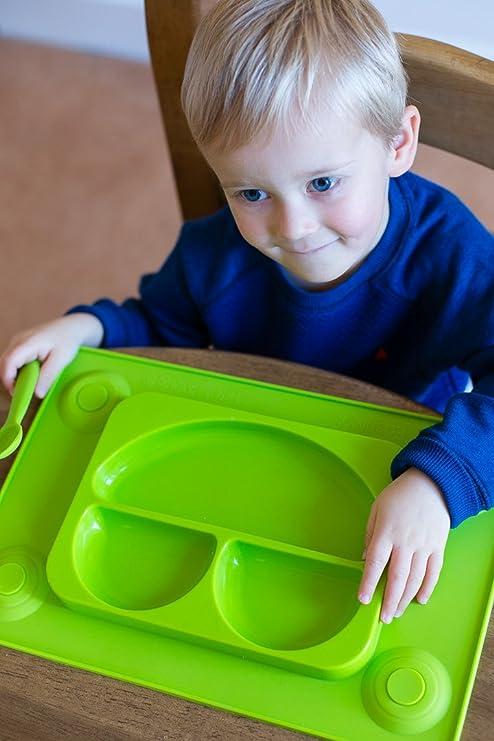 EasyMat - Plato de silicona con divisiones y mantel de succión - Todo en uno - Con cuchara suave para niños - Perfecta para bebés de 6 meses en adelante: ...